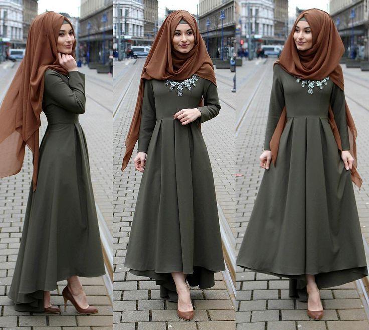 صورة اجمل الفساتين للمحجبات , احدث موديلات فساتين للمحجبات