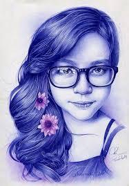 صورة رسومات بنات سهله , رسم بنت بالقلم الجاف