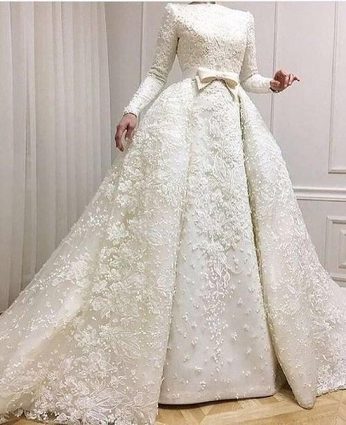 صورة فساتين اعراس للمحجبات , الذوق الرفيع لفساتين المحجات فى الاعراس