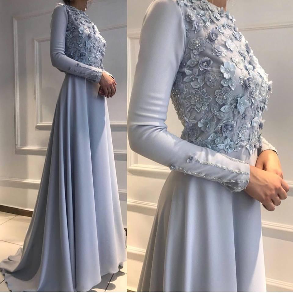 صورة فساتين سواريه بسيطه وشيك للمحجبات , الحجاب وافضل تشكيله لفساتين السهره