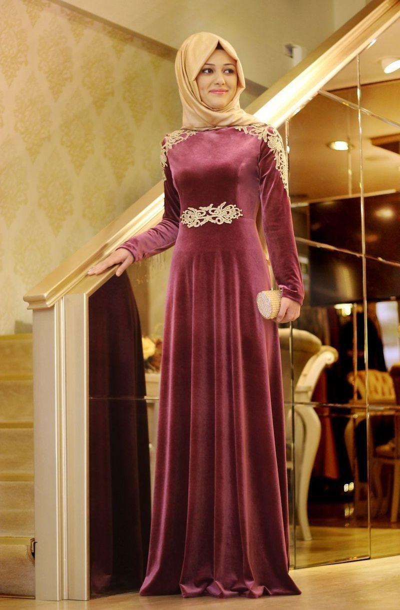 صورة فساتين سواريه 2020 للمحجبات , المناسبات الليليه وملابس خاصه للمحجبات